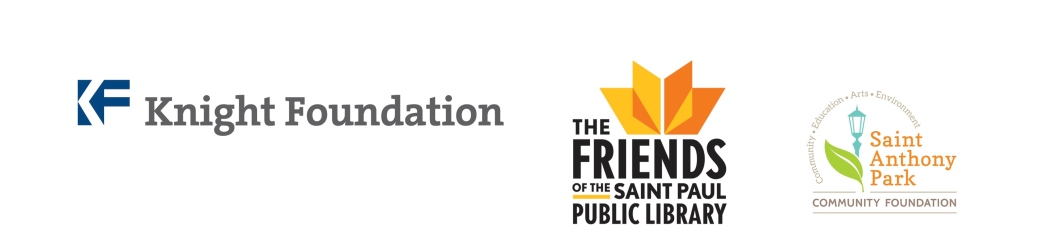 Logos for the Knight Foundation, the Friends of the Saint Paul Public Library, and the Saint Anthony Park Community Foundation